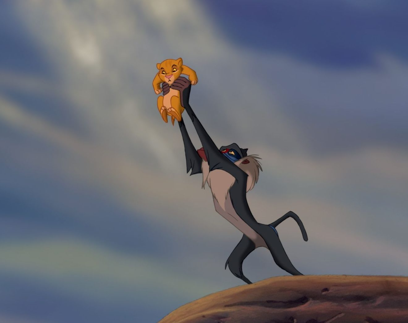 """THE LION KING""  (L-R) Simba (voice by Jonathan Taylor Thomas), Rafiki (voice by Robert Guillaume)  ©Disney Enterprises, Inc.  All Rights Reserved."