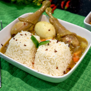 Potato in chicken curry sauce and steamed white rice