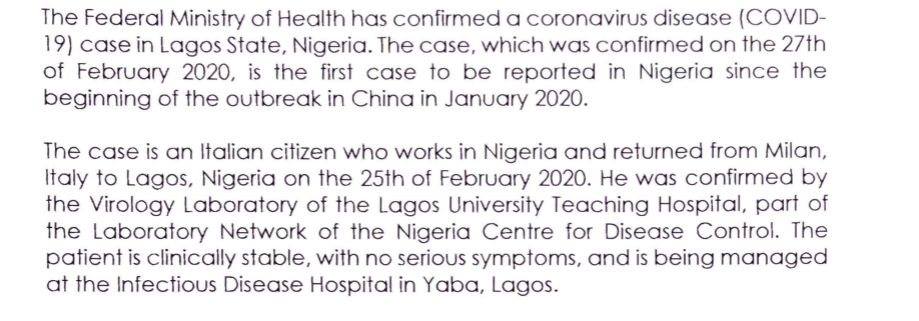 Coronavirus in  Nigeria Minister of Health press release
