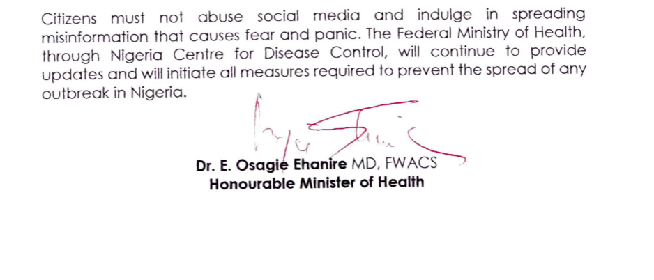 Coronavirus Nigerian Minister of Health press release