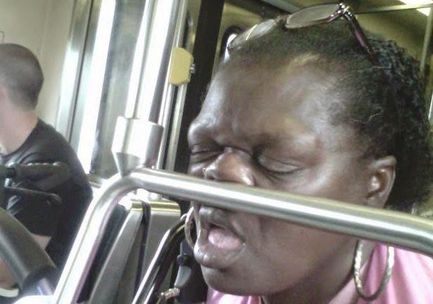 woman sleeping on public transport