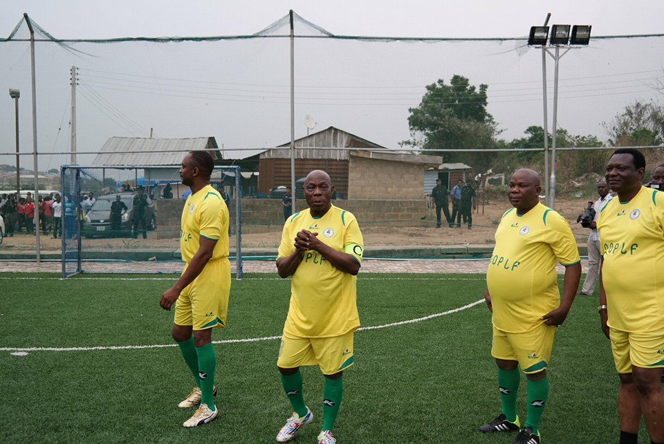 Obasanjo plays football